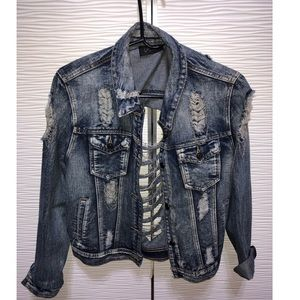 Distressed denim jacket with chain hardware